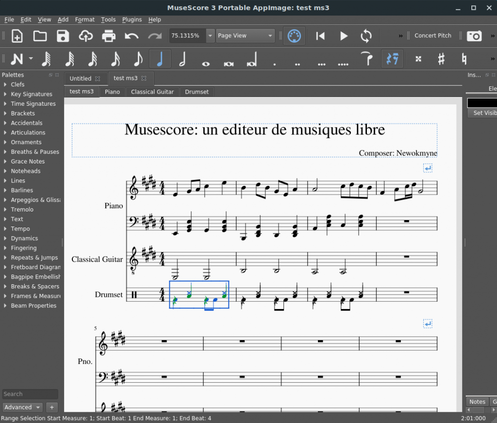 Interface de Musescore 3.0.x