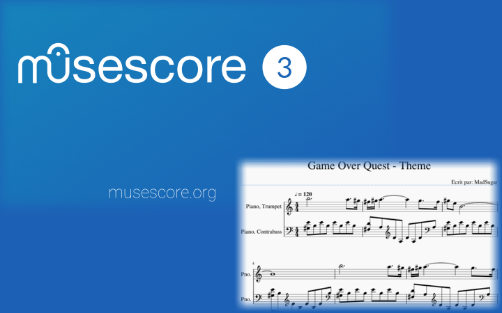 splash screen de Musescore 3 avec en bonus un morceau de partition de Game Over Quest
